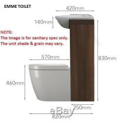 Back to wall 1200mm walnut white vanity basin toilet BTW unit and cistern 3H12W