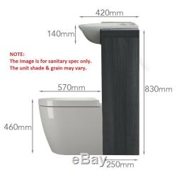 Back to wall 1500mm drift grey vanity basin toilet tap unit and cistern 5H15G