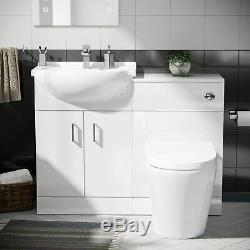 Basin Sink Vanity Cabinet and Back to Wall WC Toilet Set Bathroom Suite Laguna
