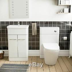 Basin Sink White Vanity Cabinet Unit and Back to Wall Toilet Bathroom Lorey