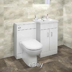 Bathroom 2-Door Combination Unit Back to Wall Toilet WC Unit Sink & Vanity Unit