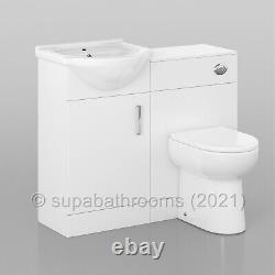 Bathroom 450mm Vanity Unit Sink Basin Linton Back to Wall Toilet Furniture Suite