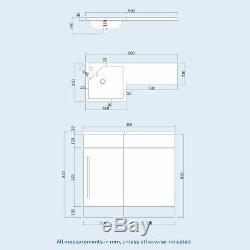 Bathroom 900 mm Grey LH Basin Sink Vanity Unit WC Back To Wall Toilet Lovane