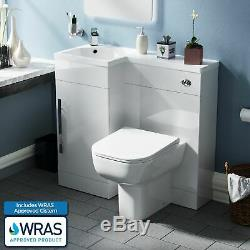 Bathroom 900 mm White LH Basin Sink Vanity Unit WC Back To Wall Toilet Debra