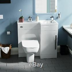 Bathroom 900 mm White RH Basin Sink Vanity Unit WC Back To Wall Toilet Debra