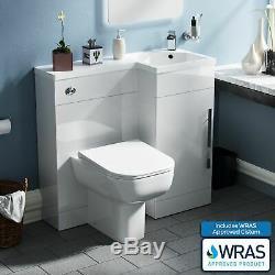 Bathroom 900 mm White RH Basin Sink Vanity Unit WC Back To Wall Toilet Lovane