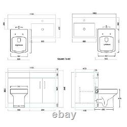 Bathroom Back to Wall Toilet Close Coupled White Vanity Unit Cabinet Basin Sink
