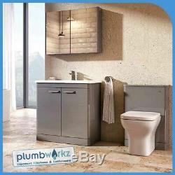 Bathroom Furniture Grey Vanity Unit Cabinet Basin Back To Wall WC Unit