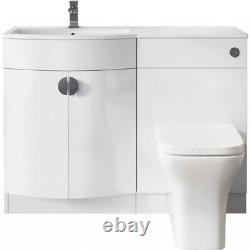 Bathroom Space P Shaped Vanity Unit RIGHT HAND & Back to Wall Unit Set WHITE