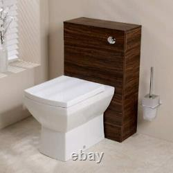 Bathroom Vanity Back to Wall Walnut WC Unit BTW Toilet Pan Cistern & Seat