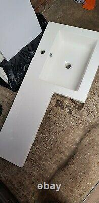 Bathroom Vanity Basin Sink with Back to Wall Toilet Soft Close Seat