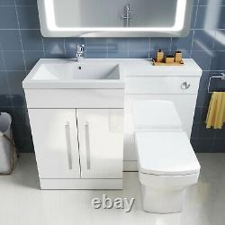 Bathroom Vanity Basin Sink with Toilet Back to Wall Soft Close Seat Free Cistern