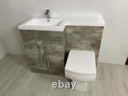 Bathroom Vanity Unit Concrete Beige Furniture Suite Back to Wall WC Toilet, Basin