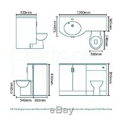 Bow Front Basin Vanity Unit & Back to Wall Toilet Left Hand Black Worktop