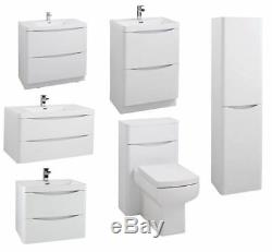 Brand New Modern White Gloss Bathroom Furniture Units Cabinets Basin Vanity WC