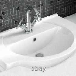 Cloakroom Suite White 450mm Bathroom Vanity Unit & Toilet For Small Bathroom