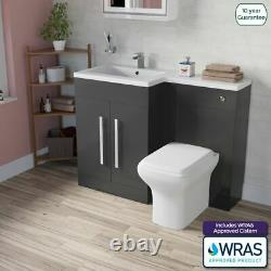 Damion LH Bathroom Grey Gloss Basin Vanity Unit WC Back To Wall Toilet 1100mm