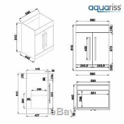Designer LH Grey Combi Bathroom Vanity Unit with Basin + Back To Wall Toilet