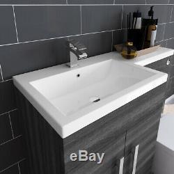 Designer Left Hand Grey Combi Bathroom Vanity Unit & Basin + Back To Wall Toilet