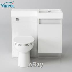 Designer White Combination Bathroom Vanity Unit&Basin Back To Wall Toilet 906R