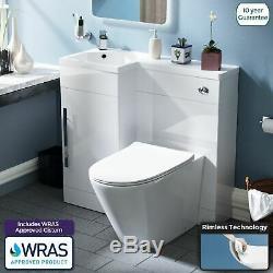 Ellis 900mm Bathroom Basin Sink Vanity Unit Rimless Back To Wall WC Toilet LH