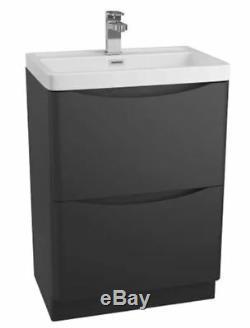 Excellent Modern Black Bathroom Furniture Units Cabinets Basin Vanity WC 2 Draw