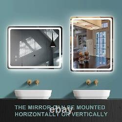 GETPRO Bathroom LED Vanity Mirror, 24x16 inch Frameless Wall-Mounted Makeup Back
