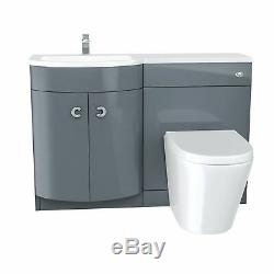 Grey 1100 mm Bathroom Basin Vanity Unit and Back To Wall WC Toilet Suite Dene