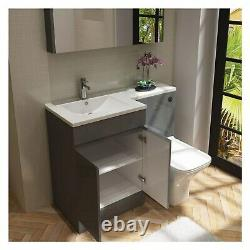 Grey Vanity Unit and Back to Wall Toilet Left Hand Florence