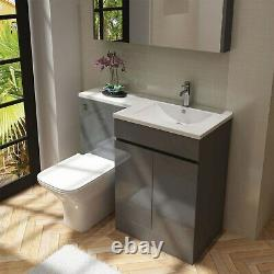 Grey Vanity Unit with Back to Wall Toilet Unit Right Hand Florence
