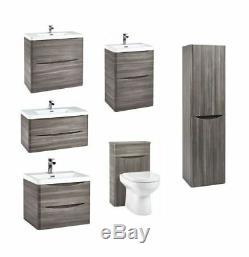 High Quality Modern Avola Grey Bathroom Furniture Cabinet Basin Vanity WC Units