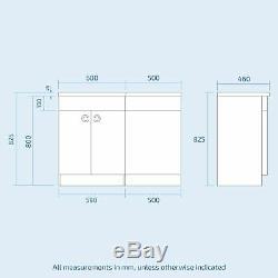 Ingersly Bathroom Basin Sink Vanity Grey Unit Back To Wall WC Toilet LH 1100mm