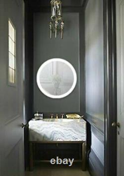 Krugg LED Bathroom Round 27 Diameter Lighted Vanity Mirror Silver Backed Glass