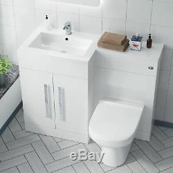 LH Vanity Sink Basin Unit Back to Wall WC Rimless Toilet Bathroom Suit Aron
