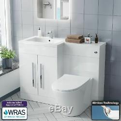LH Vanity Sink Unit Back to Wall WC Rimless Toilet Bathroom Suit Aron