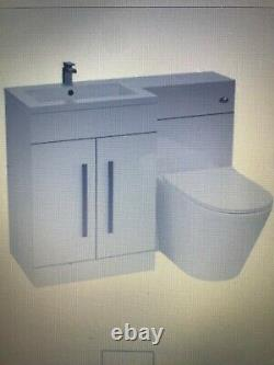 Left Handed Vanity Sink Unit Back to Wall WC Rimless Toilet Bathroom