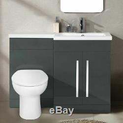 Lonel Grey Bathroom Vanity Unit RH Basin WC Furniture Back To Wall Toilet 1100mm