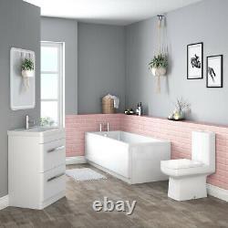 Luxury Bathroom Suite with Freestanding Vanity Unit