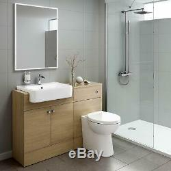 Luxury Oak Vanity Basin Sink Unit Back To Wall Toilet Storage