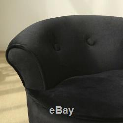 Luxury Velvet Dressing Table Stool Black Legs Vanity Upholstered Bedroom Chair