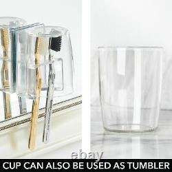 MDesign Bathroom Vanity Toothbrush Holder with Cup/Cover Clear/Mirror Back