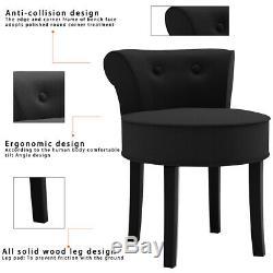 Makeup Dressing Table Stool Bedroom Back Chair Padded Seat Vanity Stool 4 Legs