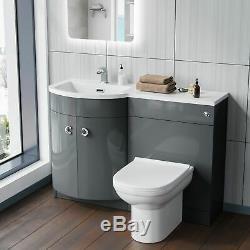 Manifold Bathroom Basin Sink Vanity Grey Unit Back To Wall WC Toilet LH 1100mm