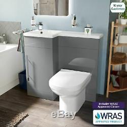 Manifold Bathroom Light Grey Basin Sink Vanity LH Unit WC Back To Wall Toilet