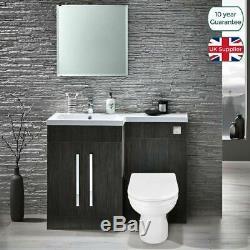 Manifold Left Bathroom Grey Vanity Furniture Basin Back To Wall Toilet