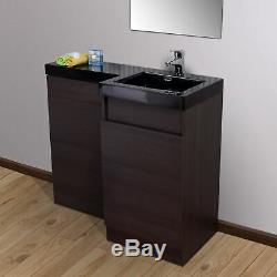 Melbourne Bathroom RH P-Shape Dark Oak Basin Vanity Unit WC Back To Wall Toilet