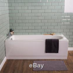 Modern Bathroom Suite Curved Bath, Back to Wall Vanity Basin Unit & Toilet Feel