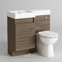 Modern Bathroom Walnut Bathroom Vanity Unit Countertop Basin+Back+ Sink+Toliet