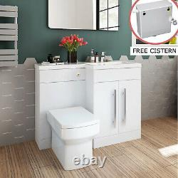 Modern White Bathroom Vanity Unit Basin Back To Wall Toilet Free Cistern Cabinet