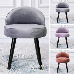 NEW Velvet Upholstered Vanity Stool Low Back Bedroom Makeup Dressing Table Chair